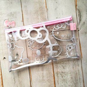Hello Kitty pink silver cosmetic makeup bag bundle